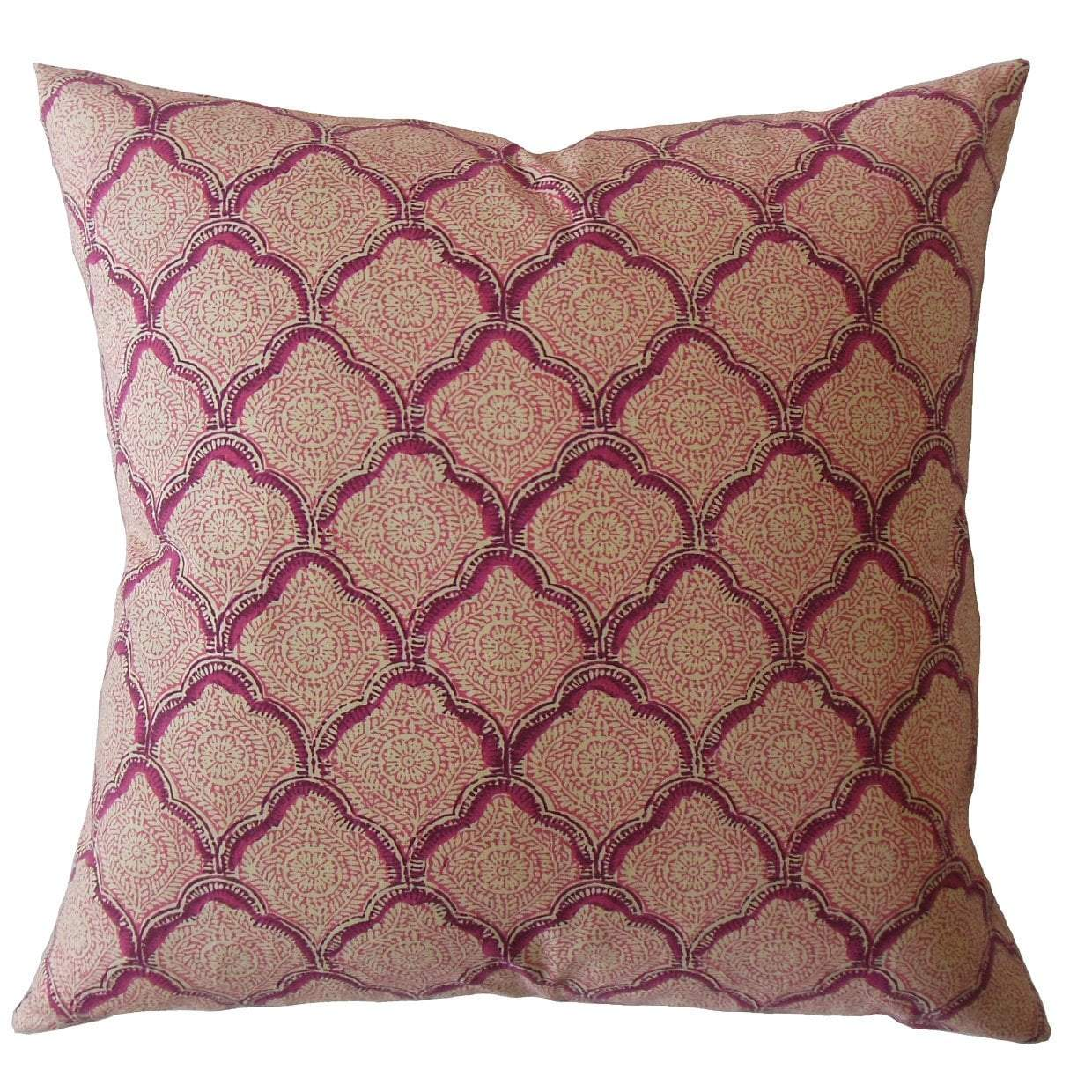 Purple Cotton Damask Traditional Throw Pillow Cover