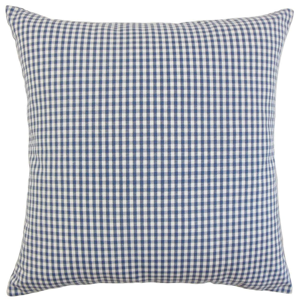 Navy Cotton Plaid Preppy Throw Pillow Cover