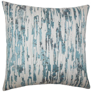 Blue Synthetic Graphic Contemporary Throw Pillow Cover