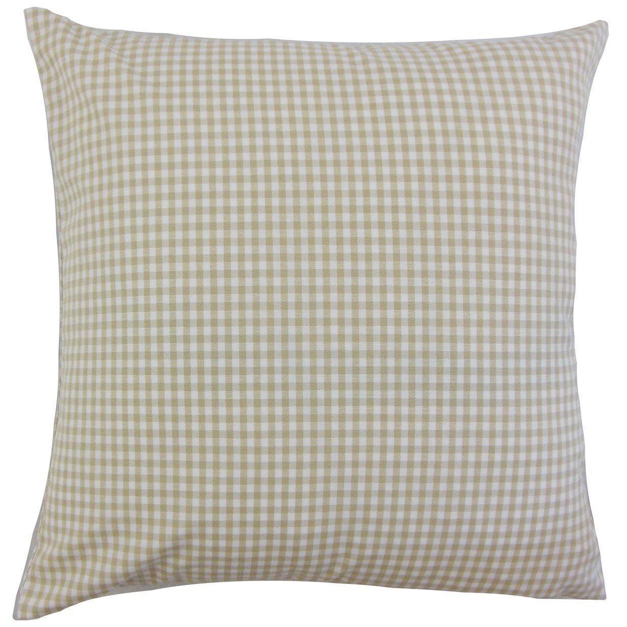 Yellow Cotton Plaid Preppy Throw Pillow Cover