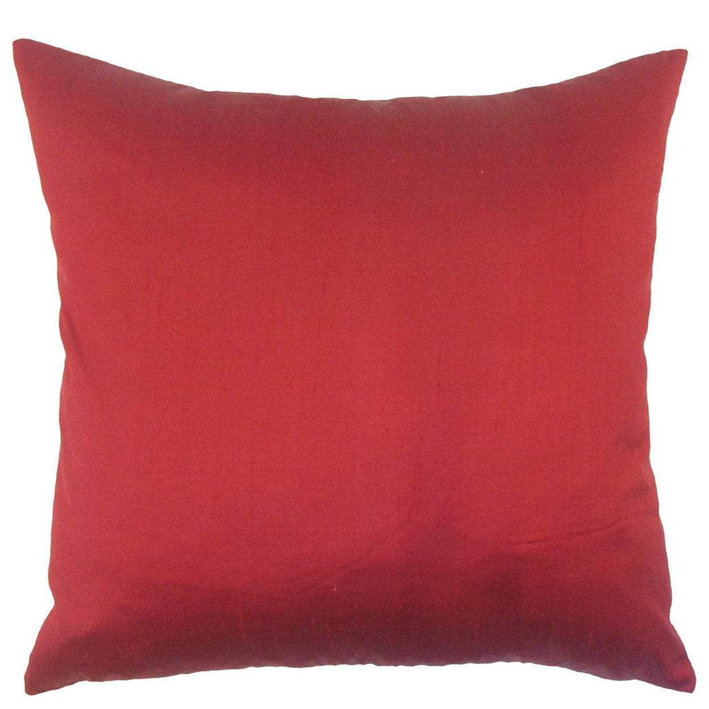 Red Silk Solid Contemporary Throw Pillow Cover