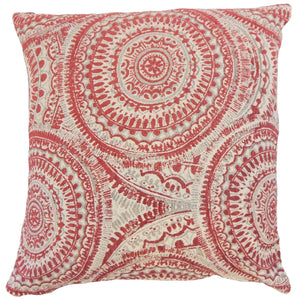 Red Synthetic Graphic Contemporary Throw Pillow Cover