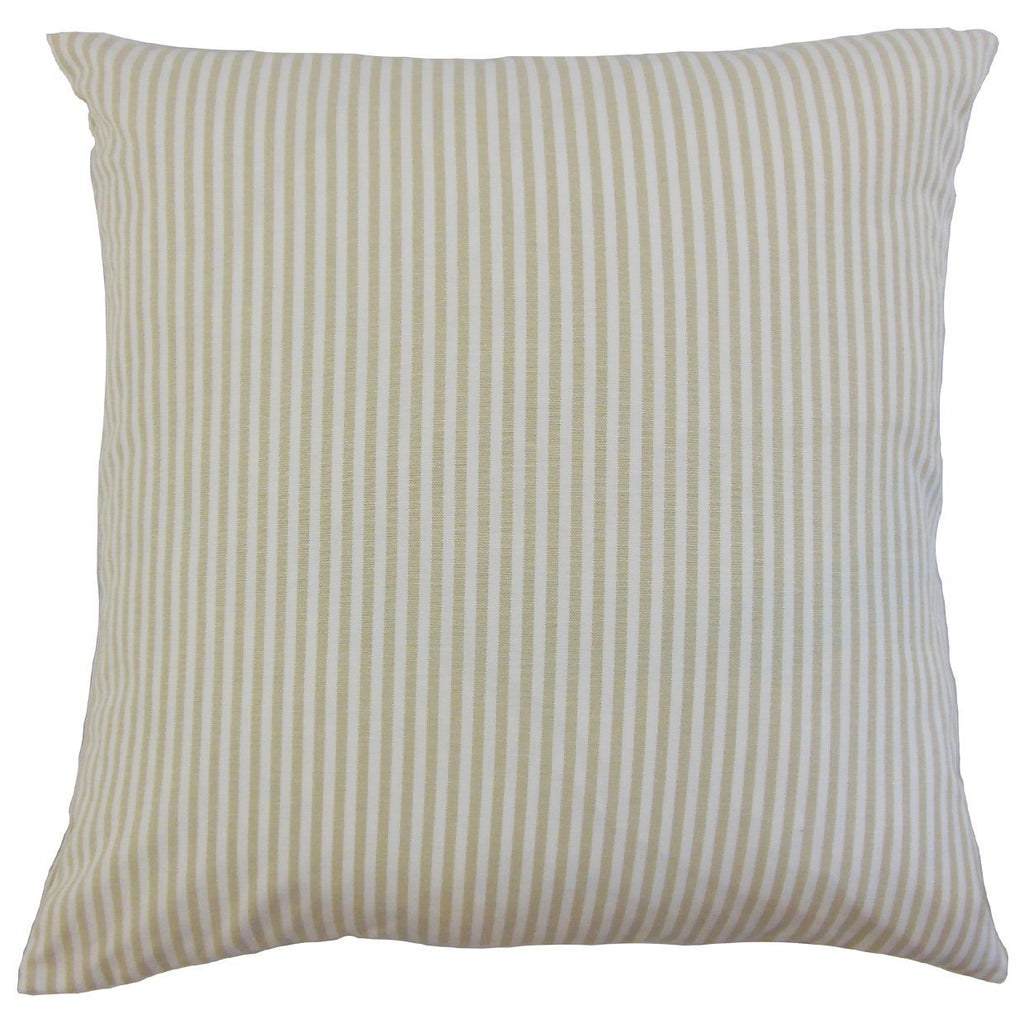 Tan Cotton Striped Contemporary Throw Pillow Cover