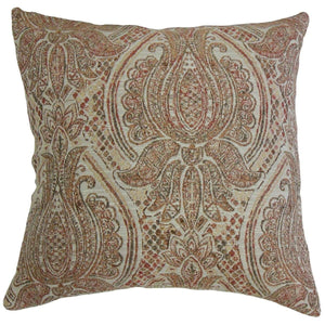 Red Synthetic Damask Traditional Throw Pillow Cover