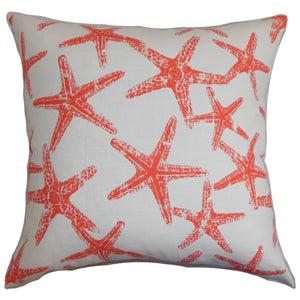 Red Cotton Graphic Coastal Throw Pillow Cover