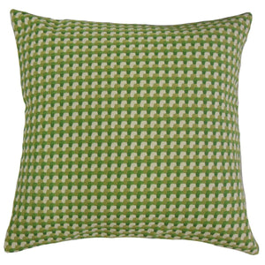 Green Synthetic Plaid Contemporary Throw Pillow Cover