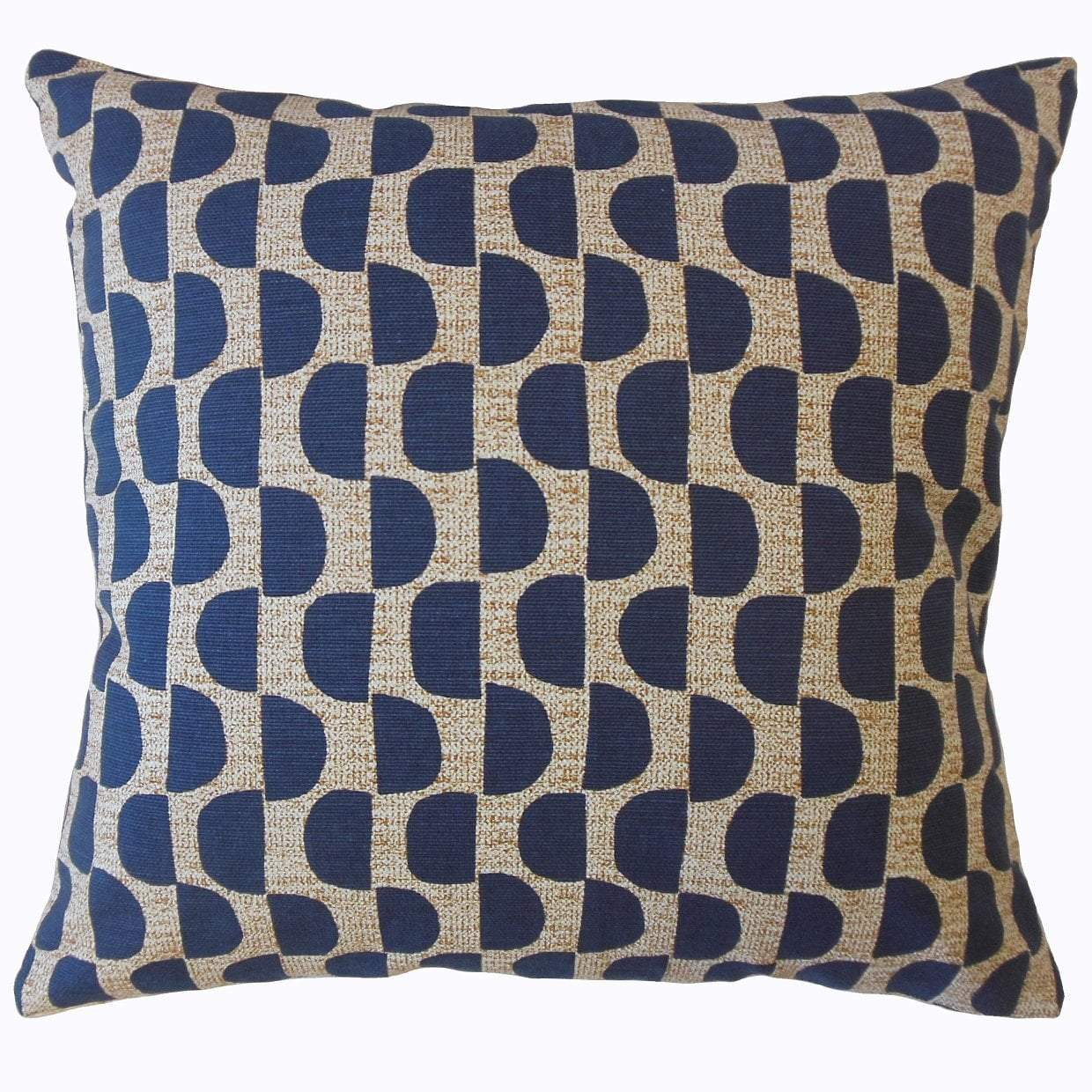 Navy Cotton Geometric Contemporary Throw Pillow Cover