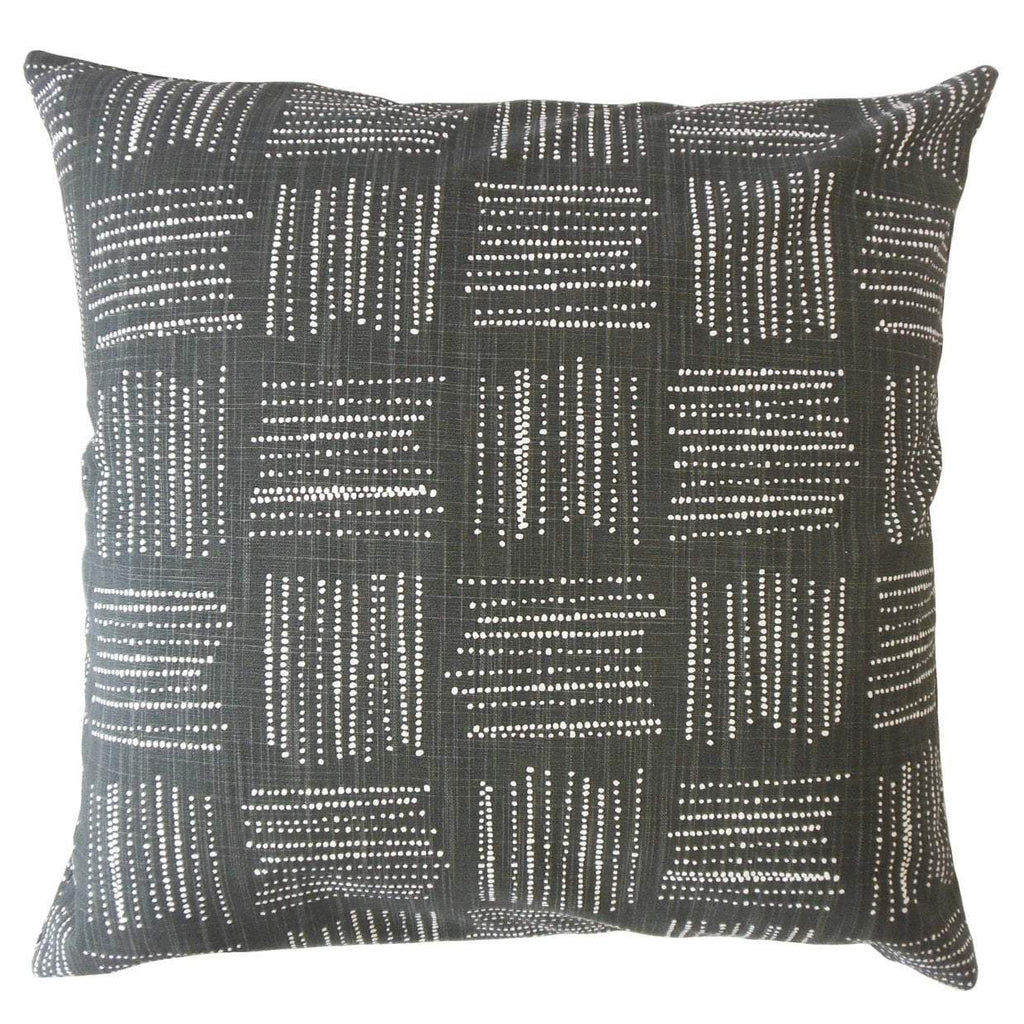 Black Cotton Geometric Contemporary Throw Pillow Cover