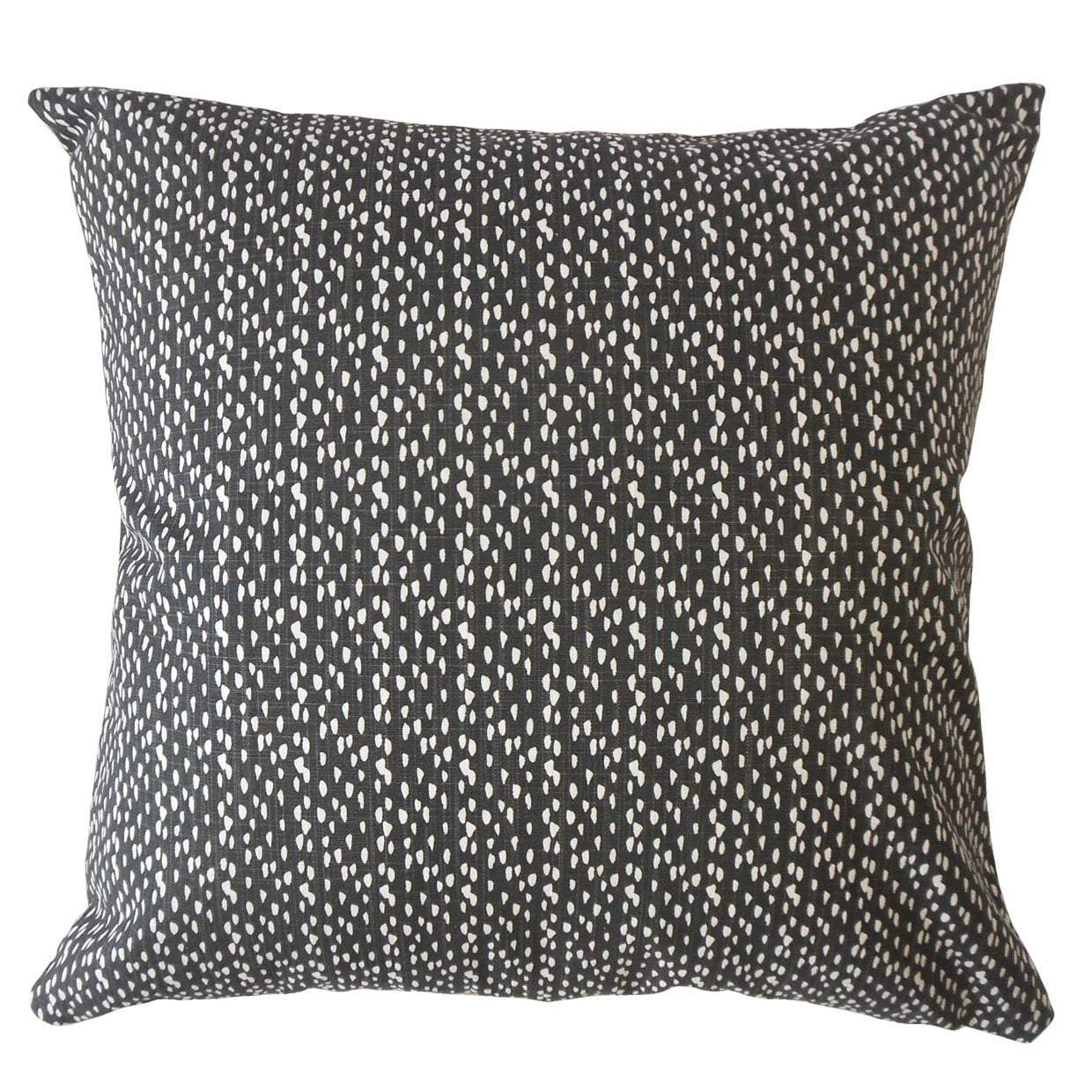 Black Cotton Polka Dot Contemporary Throw Pillow Cover