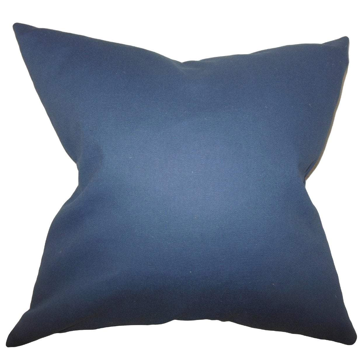 Blue Cotton Solid Contemporary Throw Pillow Cover