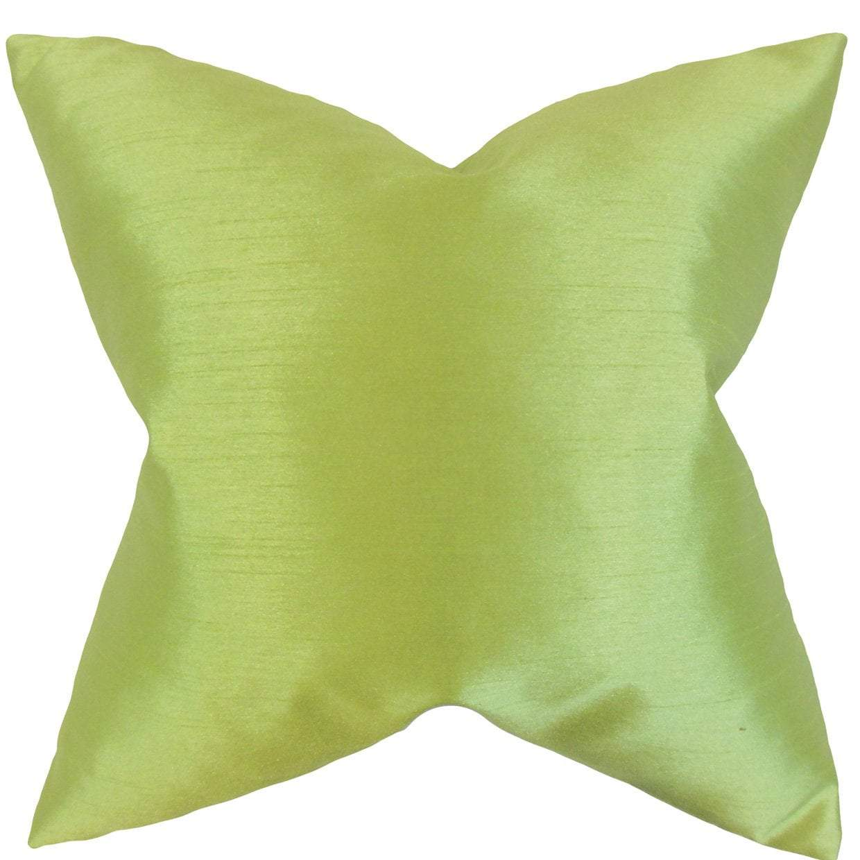 Green Synthetic Solid Luxe Throw Pillow Cover