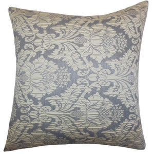 Gray Synthetic Damask Traditional Throw Pillow Cover