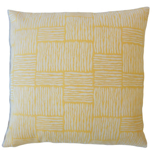 Yellow Synthetic Striped Contemporary Throw Pillow Cover
