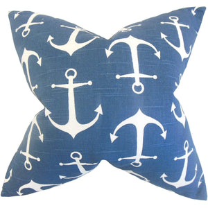 Blue Cotton Graphic Coastal Throw Pillow Cover