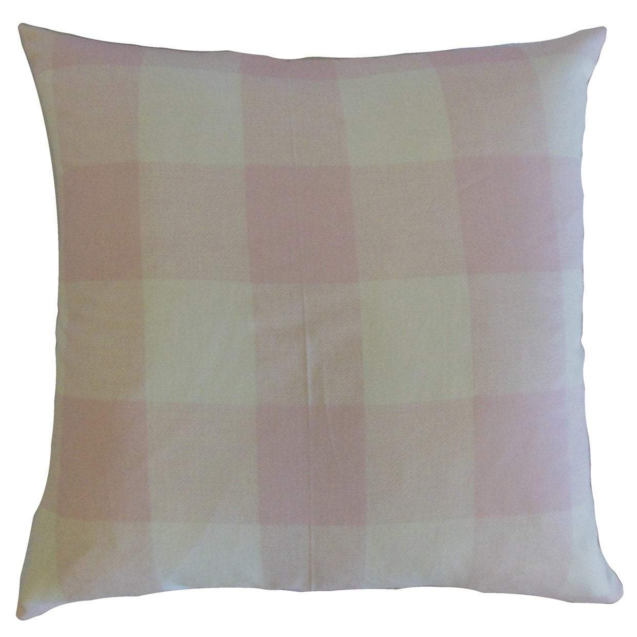 Pink Cotton Plaid Contemporary Throw Pillow Cover