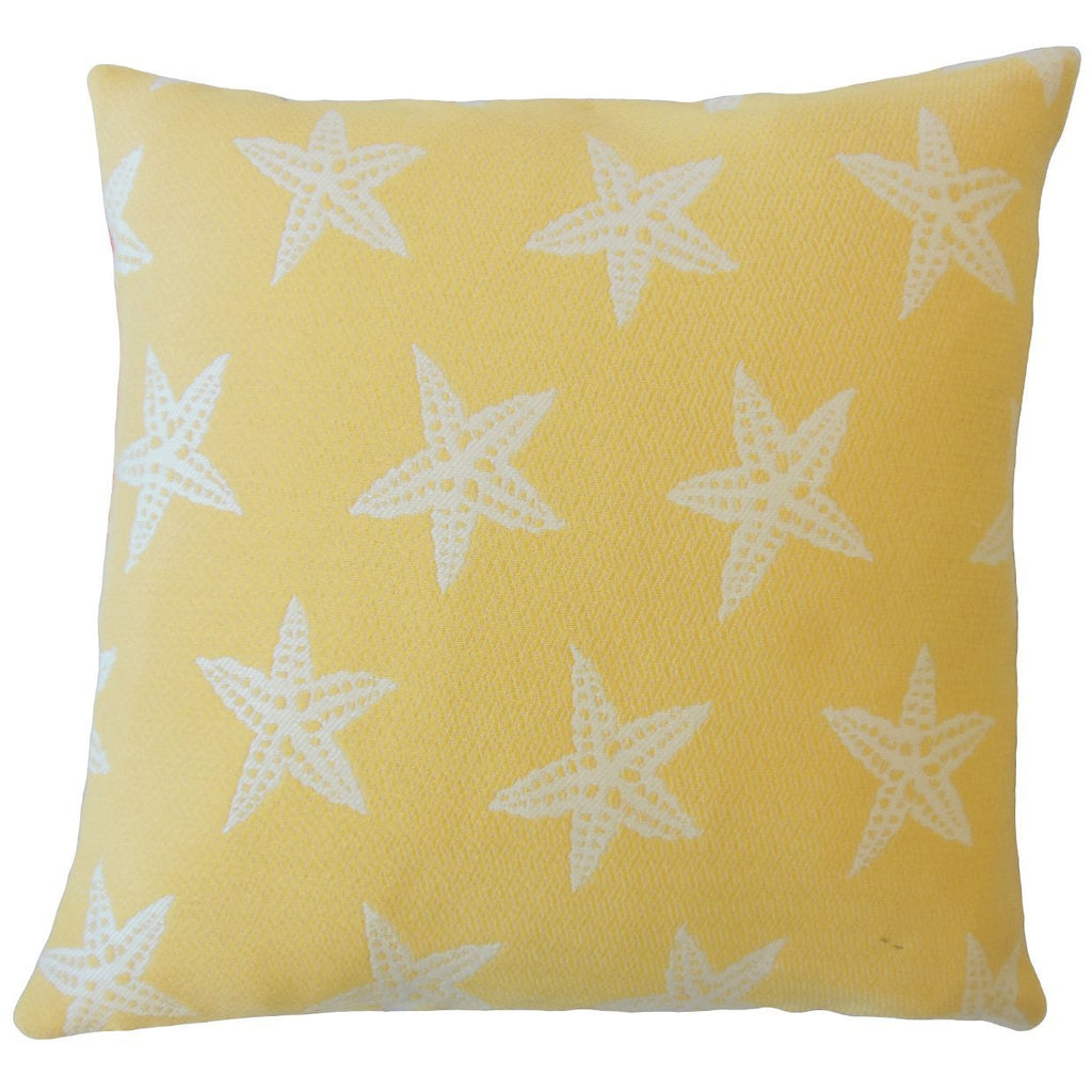 Yellow Synthetic Graphic Coastal Throw Pillow Cover