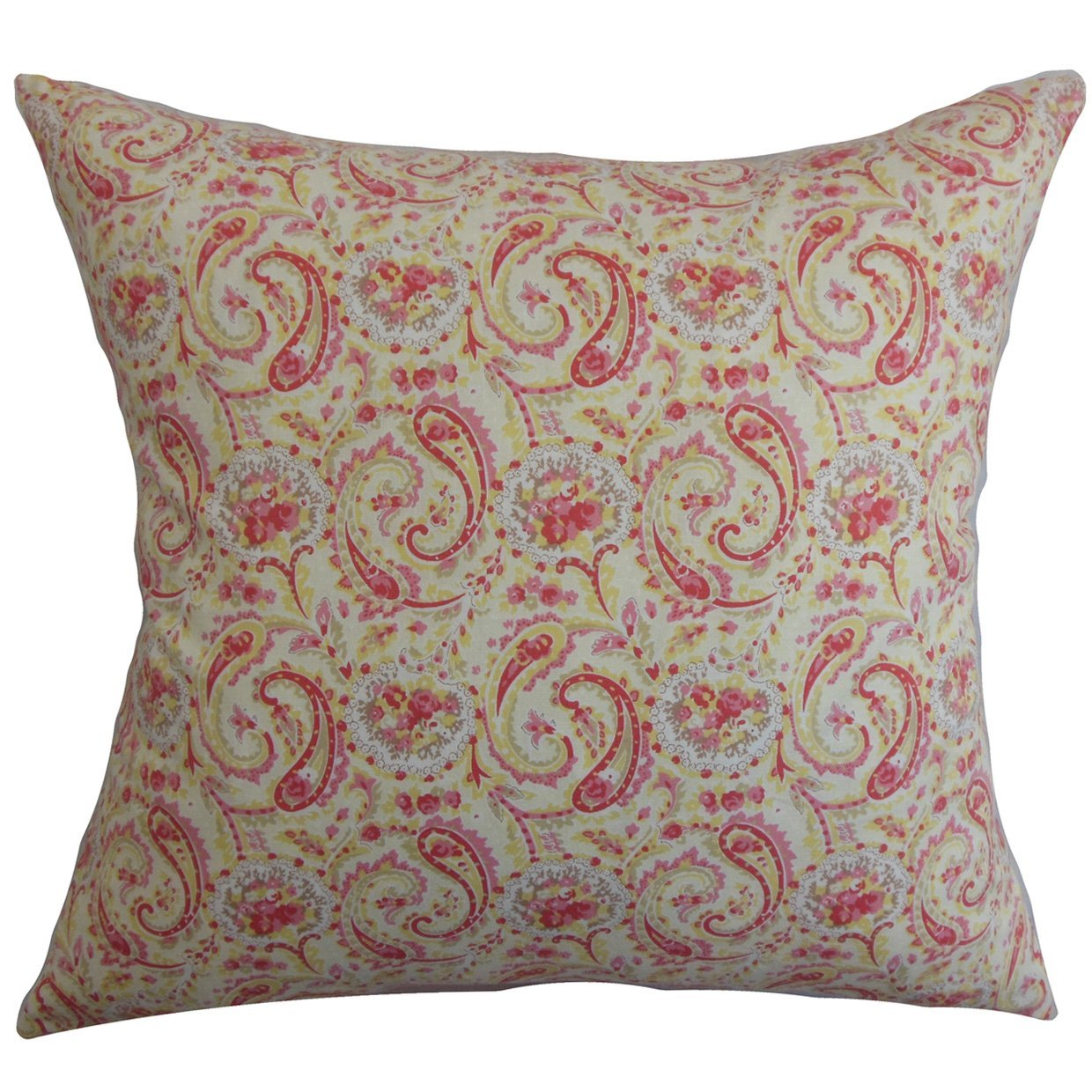Red Cotton Floral Contemporary Throw Pillow Cover
