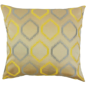 Yellow Synthetic Geometric Contemporary Throw Pillow Cover