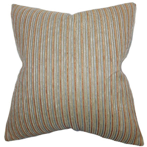Brown Cotton Striped Contemporary Throw Pillow Cover