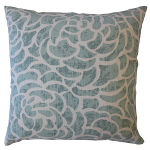 Light Blue Cotton Floral Contemporary Throw Pillow Cover