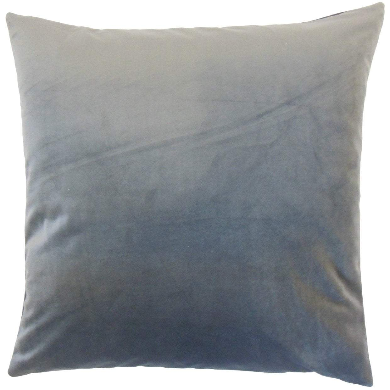Gray Velvet Solid Luxe Throw Pillow Cover