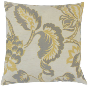 Yellow Synthetic Floral Traditional Throw Pillow Cover