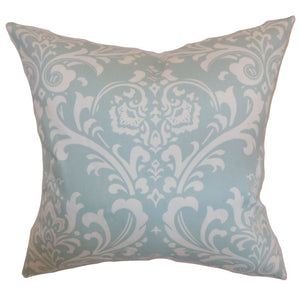 Light Blue Cotton Damask Contemporary Throw Pillow Cover