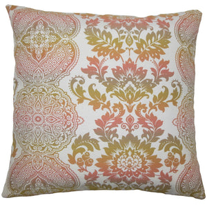 Pink Cotton Damask Traditional Throw Pillow Cover