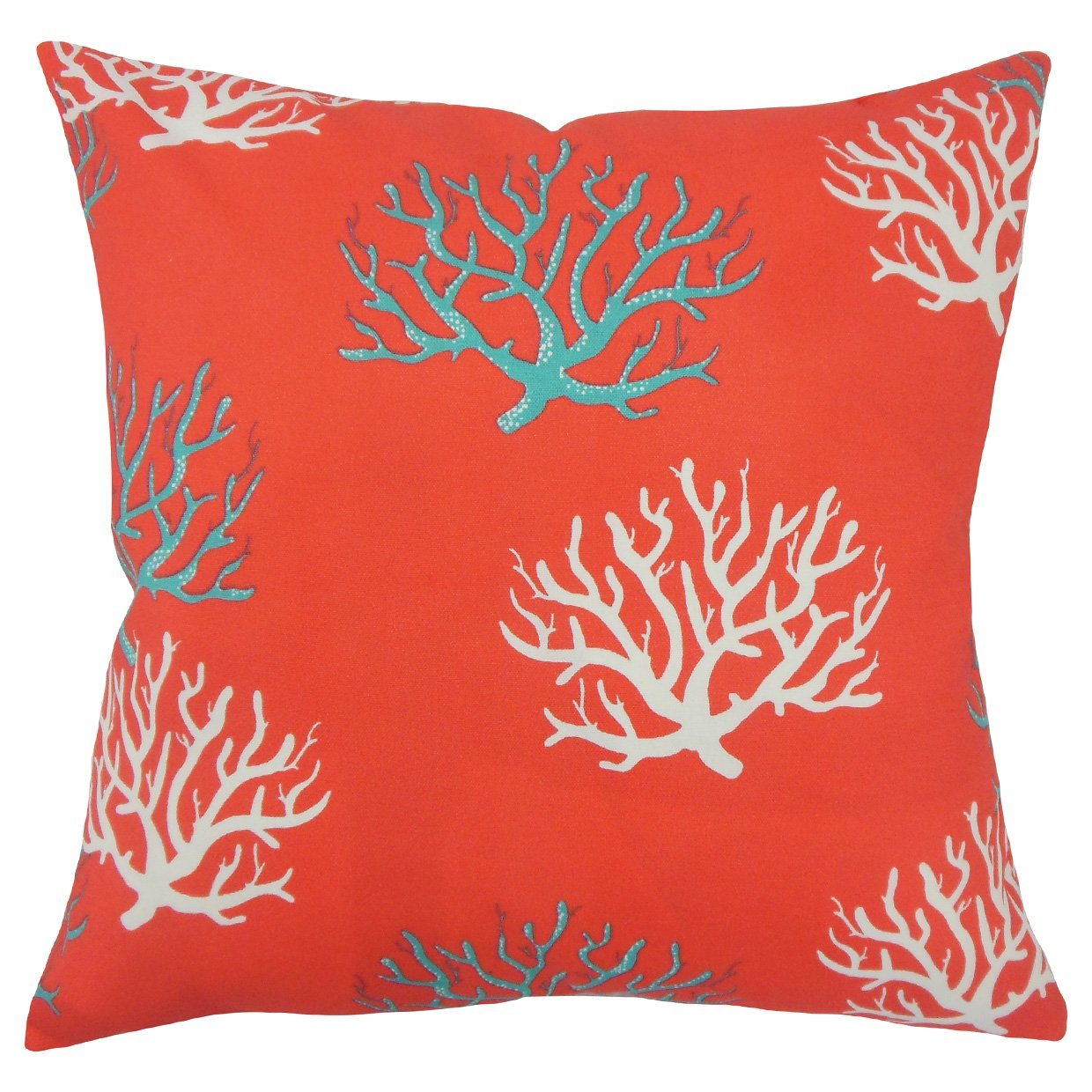 Orange Synthetic Graphic Coastal Throw Pillow Cover