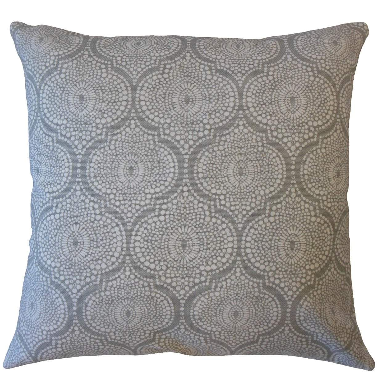 Gray Cotton Geometric Traditional Throw Pillow Cover