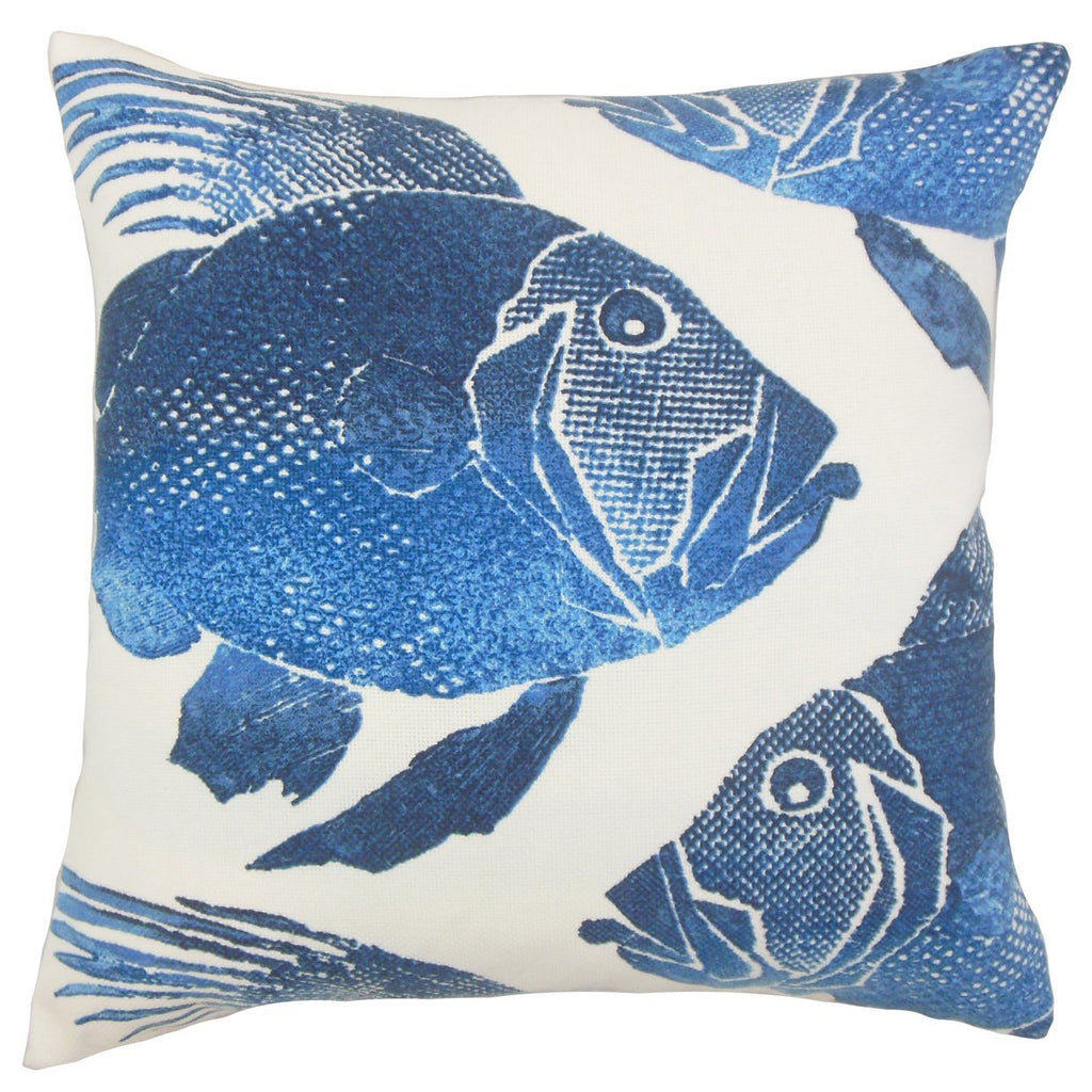 Blue Outdoor Graphic Coastal Throw Pillow Cover