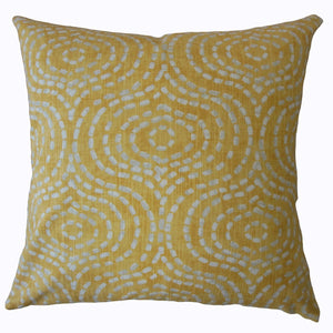 Yellow Cotton Geometric Contemporary Throw Pillow Cover