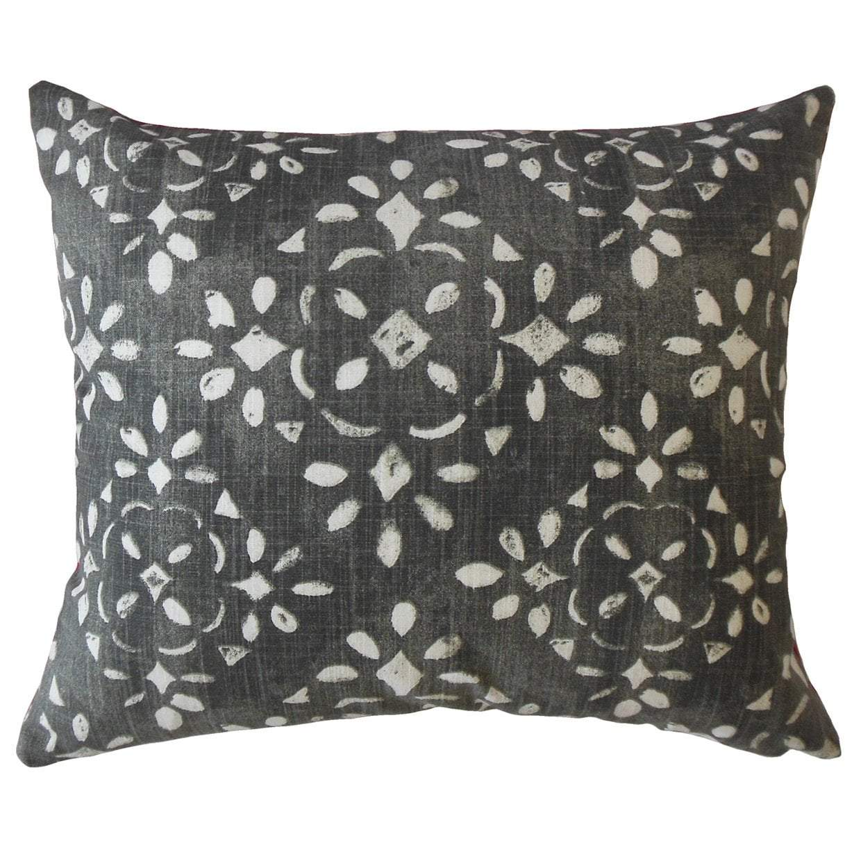 Black Cotton Ikat Boho Throw Pillow Cover