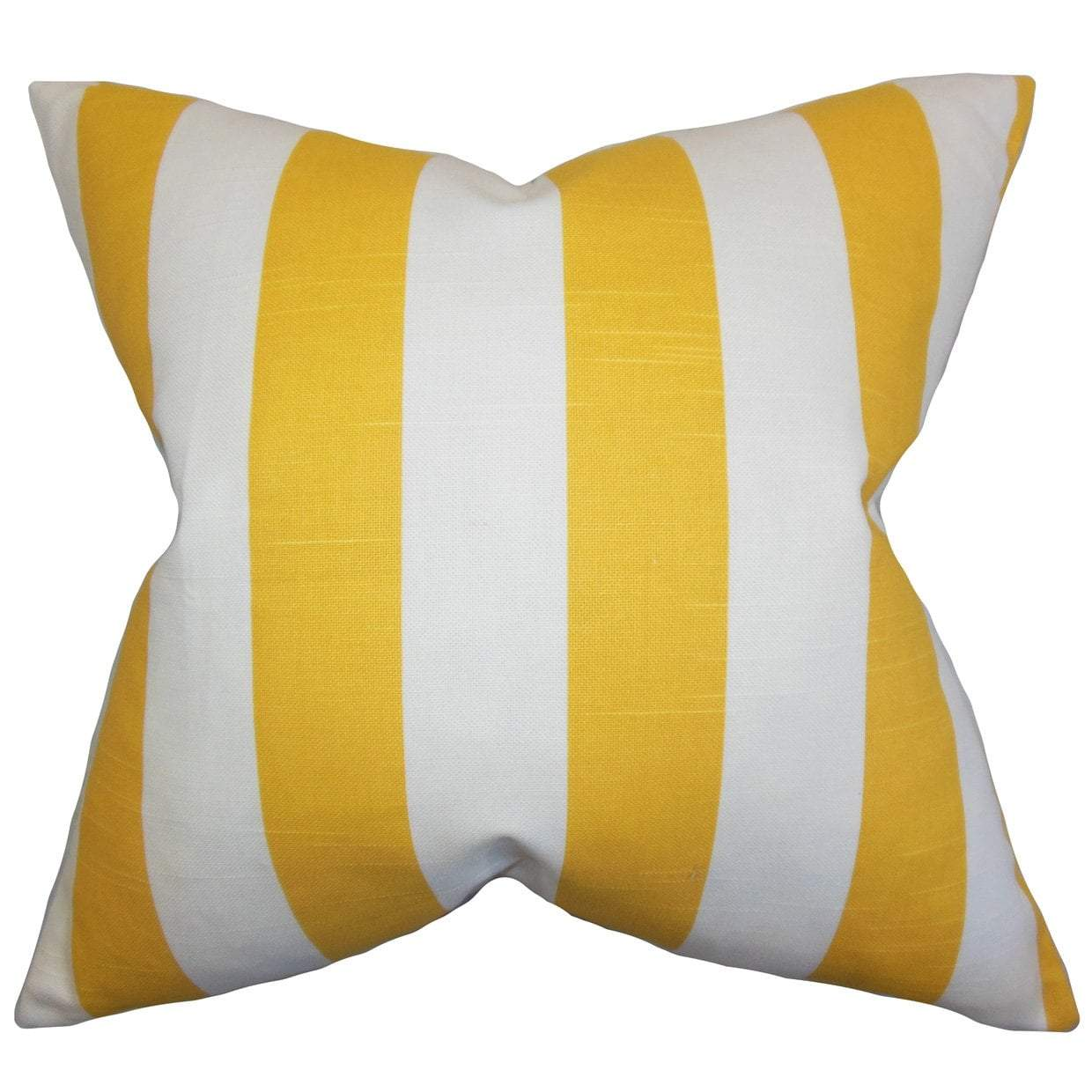 Yellow Cotton Striped Contemporary Throw Pillow Cover
