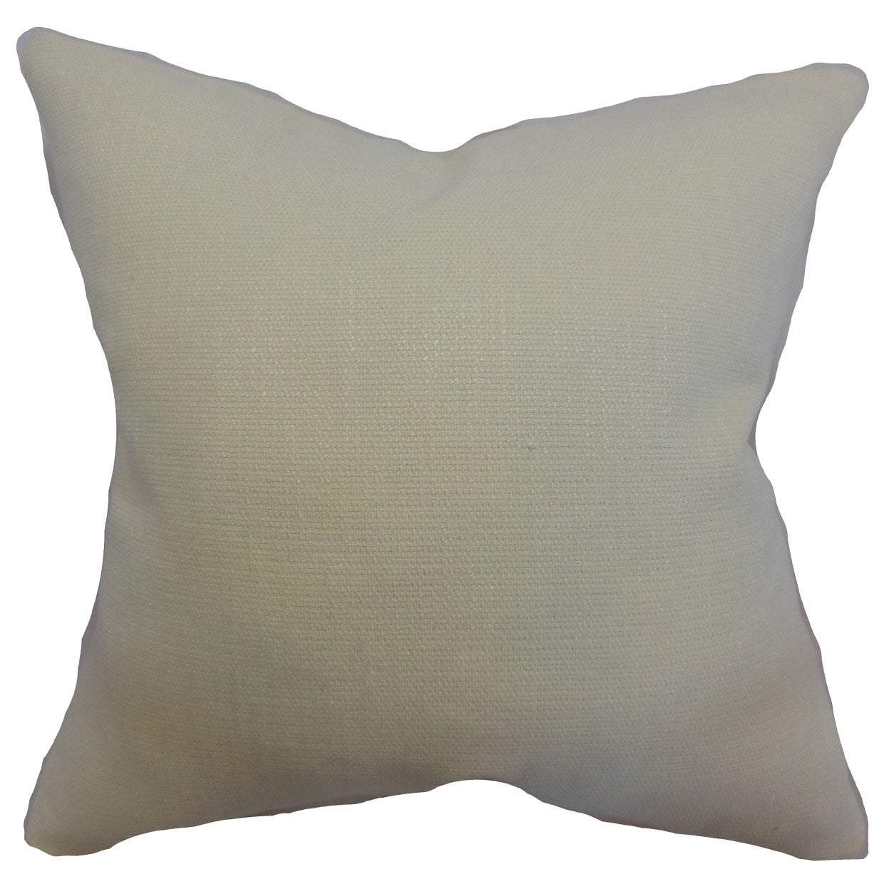 White Cotton Solid Contemporary Throw Pillow Cover