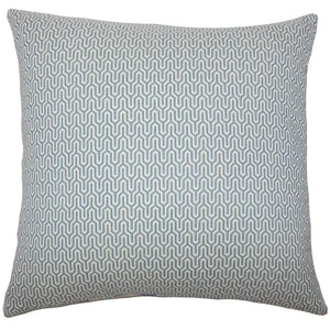 Blue Cotton Geometric Contemporary Throw Pillow Cover