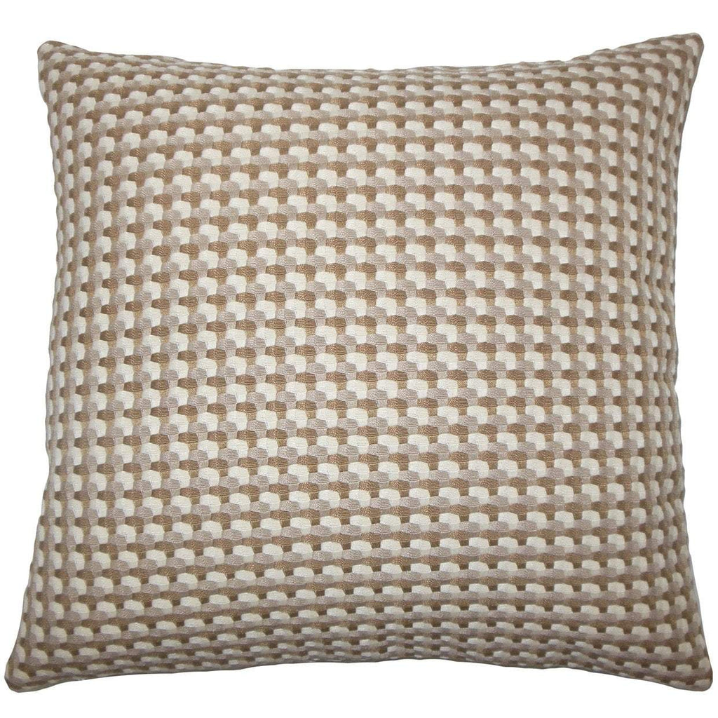 Brown Synthetic Geometric Contemporary Throw Pillow Cover