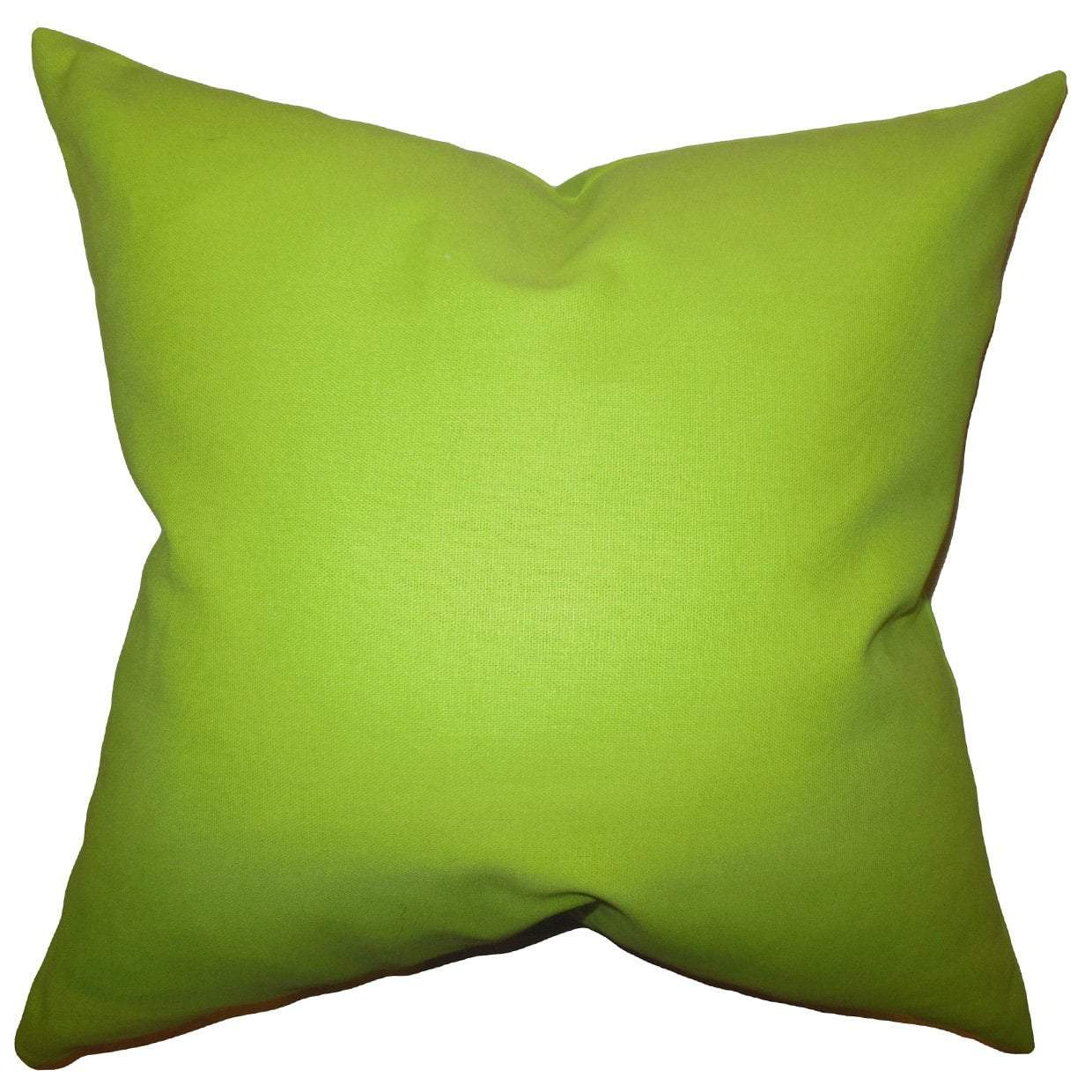Green Cotton Solid Contemporary Throw Pillow Cover