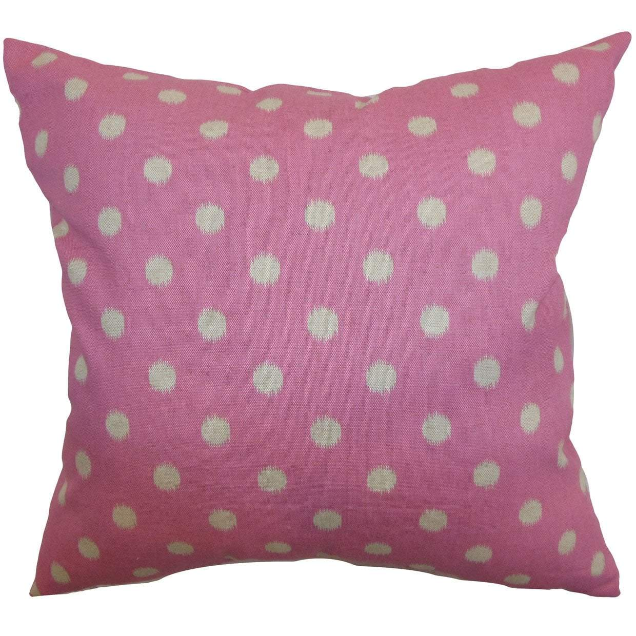 Pink Cotton Polka Dot Contemporary Throw Pillow Cover