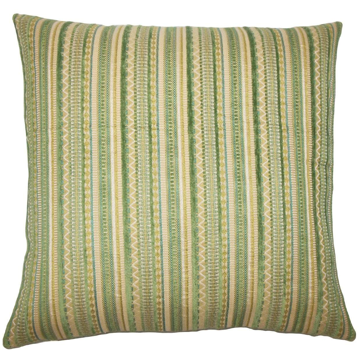 Green Synthetic Striped Contemporary Throw Pillow Cover