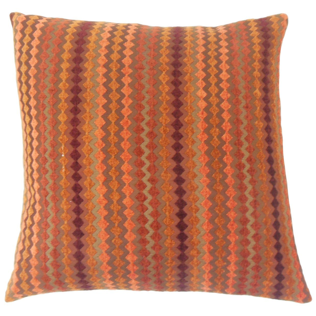 Orange Synthetic Striped Contemporary Throw Pillow Cover