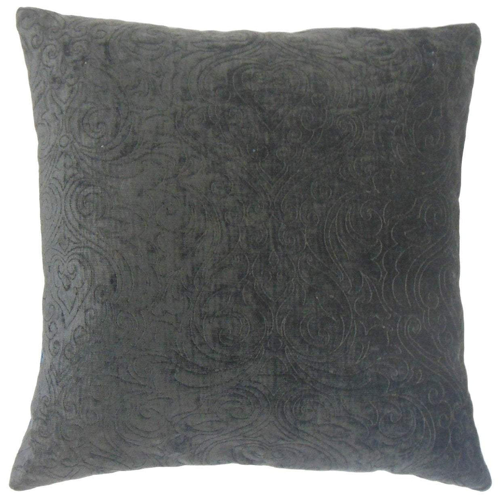 Black Synthetic Solid Traditional Throw Pillow Cover