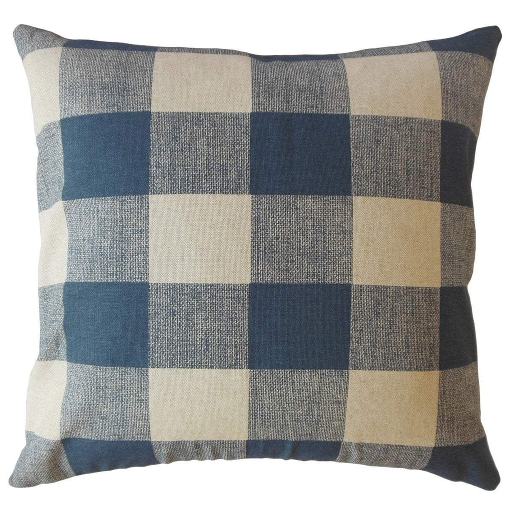 Navy Linen Plaid Preppy  Throw Pillow Cover