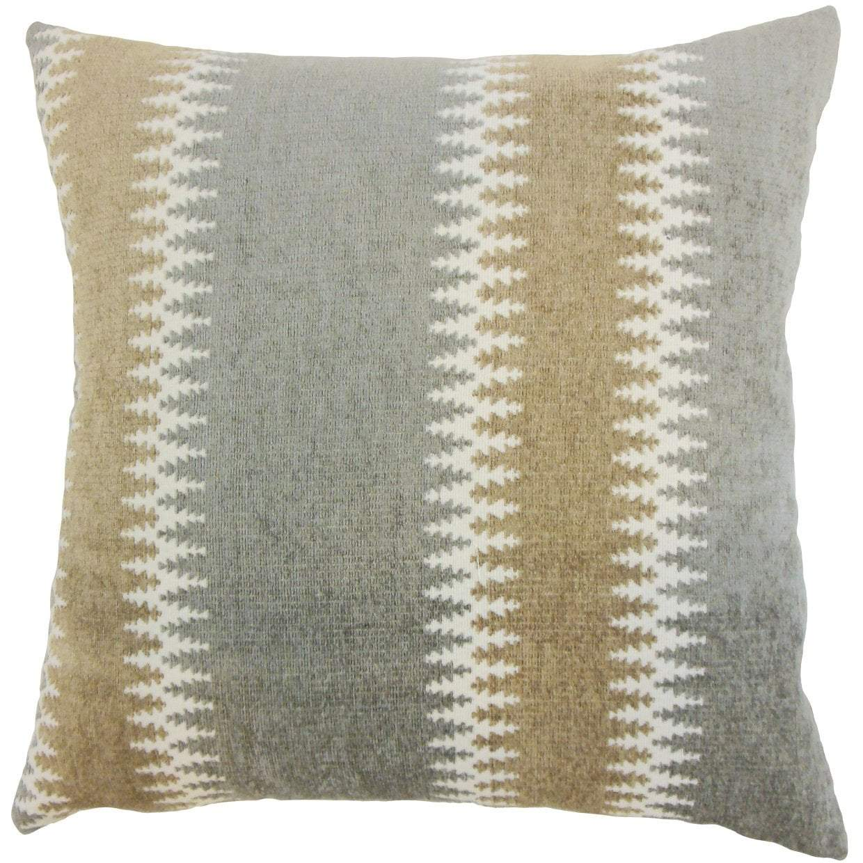 Gray Synthetic Striped Contemporary Throw Pillow Cover