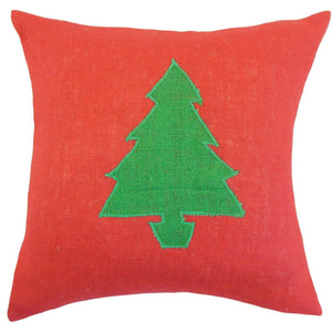 Red Linen Graphic Holiday Throw Pillow Cover