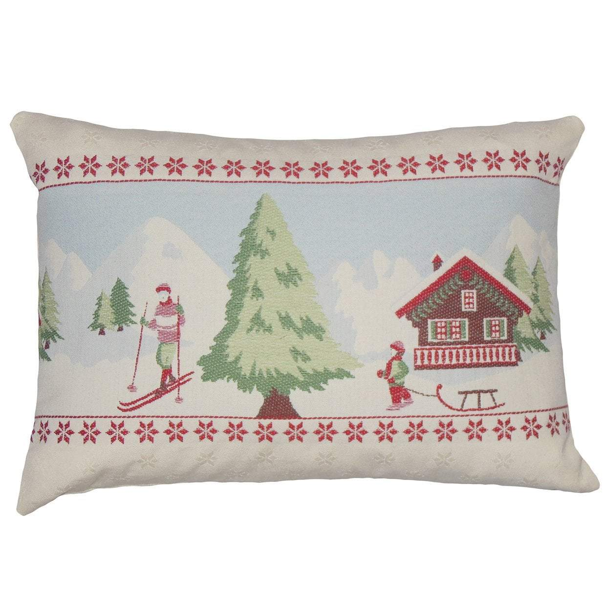 White Cotton Graphic Holiday Throw Pillow Cover