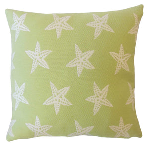 Green Synthetic Graphic Coastal Throw Pillow Cover