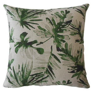 Green Cotton Floral Contemporary Throw Pillow Cover