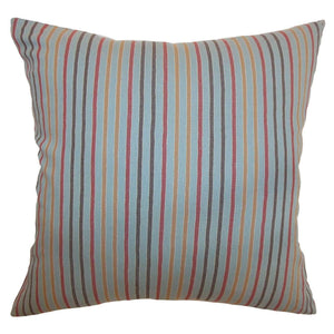 Blue Cotton Striped Contemporary Throw Pillow Cover