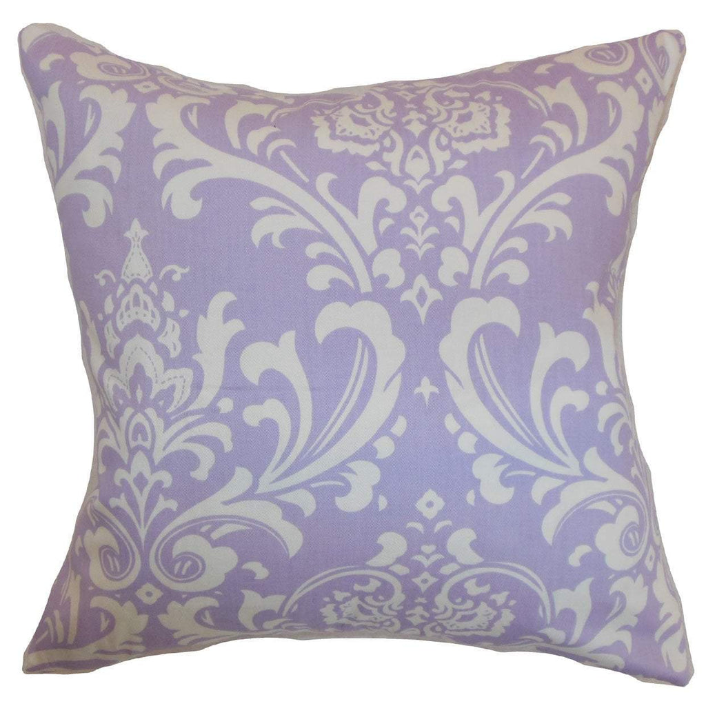 Purple Cotton Damask Contemporary Throw Pillow Cover